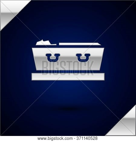Silver Open Coffin With Dead Deceased Body Icon Isolated On Dark Blue Background. Funeral After Deat