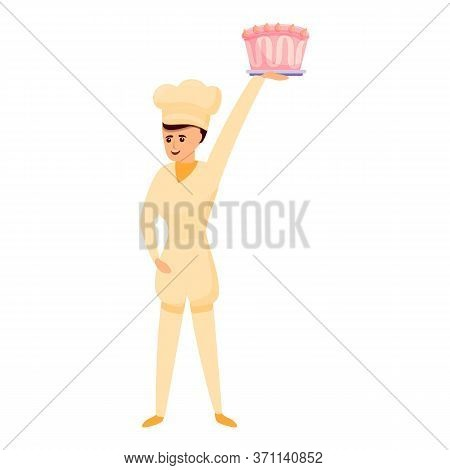 Confectioner Give Cake Icon. Cartoon Of Confectioner Give Cake Vector Icon For Web Design Isolated O
