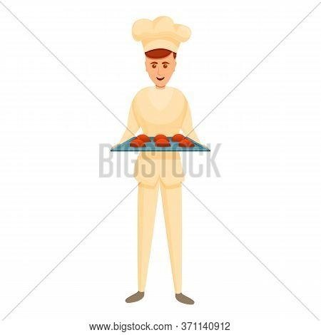 Smiling Confectioner Icon. Cartoon Of Smiling Confectioner Vector Icon For Web Design Isolated On Wh