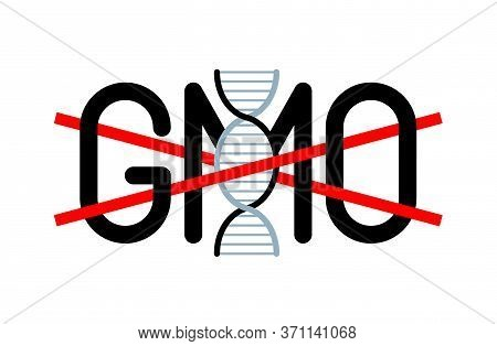 Gmo Free Marking - Crossed Word With Gene-chain - Vector Icon For Sticker, Badge