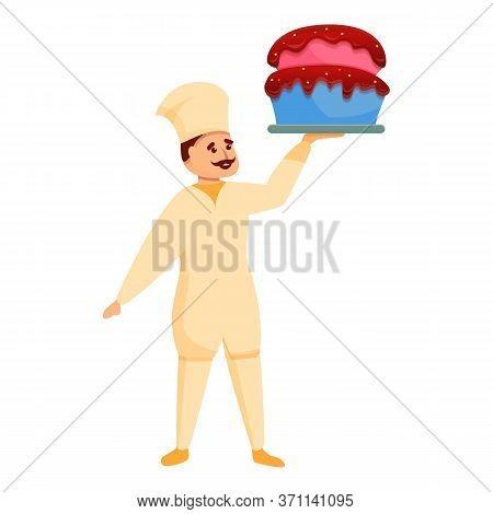Confectioner Big Birthday Cake Icon. Cartoon Of Confectioner Big Birthday Cake Vector Icon For Web D