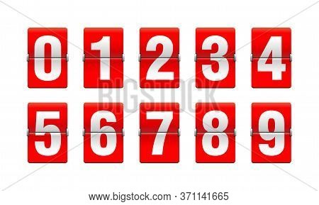 Flip Countdown Clock - Vector Digits - Red Counter Timer, Time Remaining Count Down Scoreboard In Fl