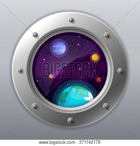 Spaceship Window View. Porthole From Rocket To Dark Sky With Earth, Stars, Planets. Shuttle With Rou