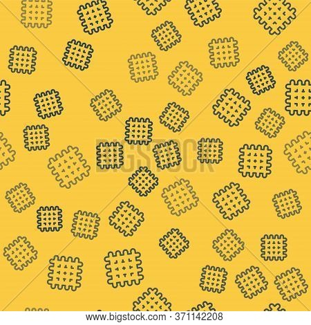 Blue Line Cracker Biscuit Icon Isolated Seamless Pattern On Yellow Background. Sweet Cookie. Vector
