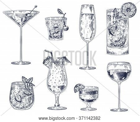 Hand Drawn Cocktails. Sketch Alcohol Drinks In Glasses. Beverage Such As Cherry Cocktail, Champagne
