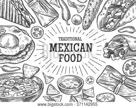 Traditional Mexican Food. Sketch National Mexican Cuisine Dishes As Hand Drawn Burrito, Taco, Salsa
