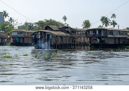 Alappuzha, Kerela, India - January 22, 2020 - Beautiful Boat House Parked On The Lake In The Bright