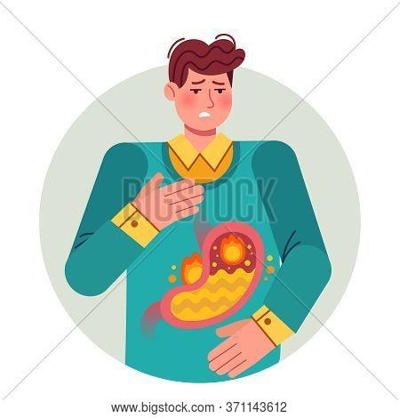 Heartburn. Gastric Disease, Stomach Problem. Ill Cartoon Man Having Disease, Feeling Pain Bloating A