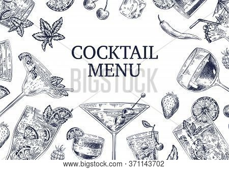Sketch Cocktail Background. Different Alcoholic Cold Drinks Cocktails As Strawberry Beverage, Mojito