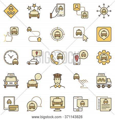 Taxi Services Colored Icons Set - Vector Taxi Cab, Transportation, Phone, Driver Concept Symbols