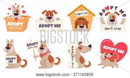 Cartoon Adopt Dog. Help Homeless Animals Find Home Concept, Sad Dogs With Text Adopt Me, Dont Shop,