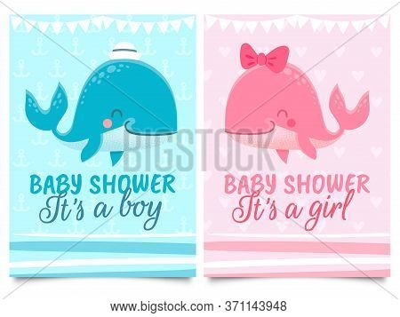 Baby Shower Card. Babies Birth Invitation Cards With Cute Pink And Blue Whales With Hat And Bow, Tex