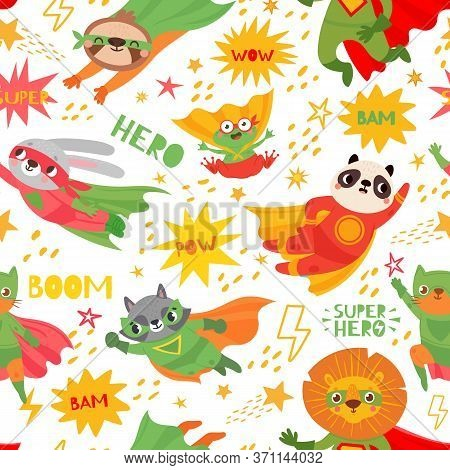 Hero Animals. Superheroes Animal Kids With Capes And Masks, Brave Animal As Frog, Rabbit, Panda And