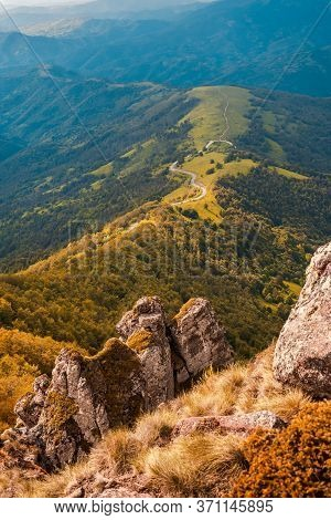 Green Valley Nature Landscape. Mountain Layers Landscape. Stunning Mountain View Landscape. Valley A