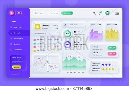 Neumorphic Dashboard Ui Kit. Admin Panel Vector Design Template With Infographic Elements, Hud Diagr