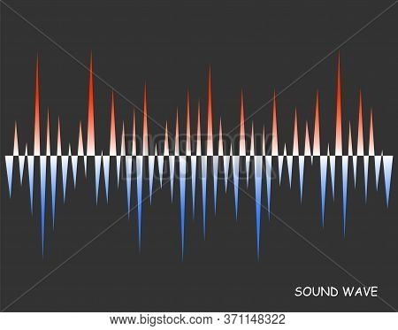 Abstract Vector Colorful Pulse Wave Lines Equalizer. Old And Warm Soundwave. Digital Audio Concept O