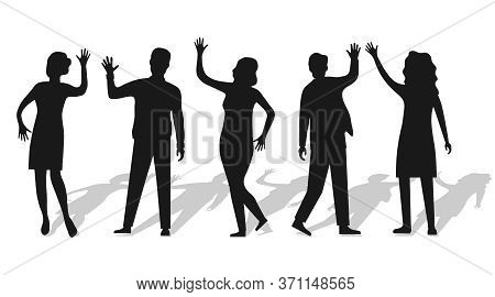 Silhouettes Of People Waving Hand Isolated On White With Shadow. People Wave Their Hands And Greet E