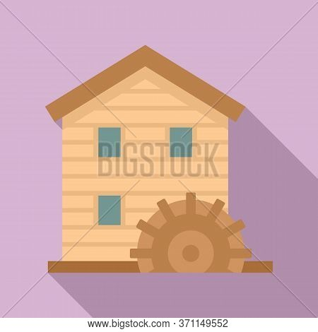 Wooden Water Mill Icon. Flat Illustration Of Wooden Water Mill Vector Icon For Web Design