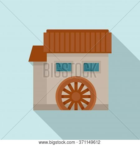 Water Mill House Icon. Flat Illustration Of Water Mill House Vector Icon For Web Design