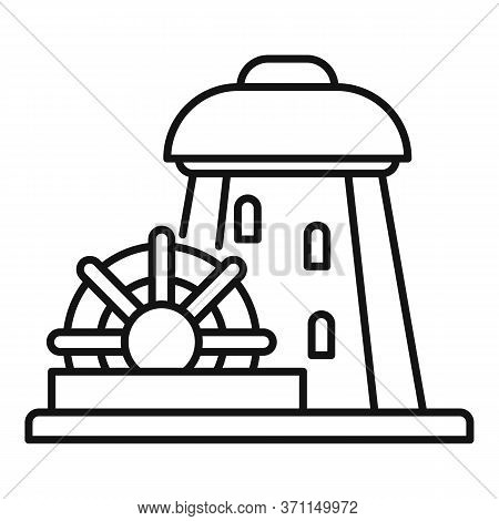 Building Water Mill Icon. Outline Building Water Mill Vector Icon For Web Design Isolated On White B