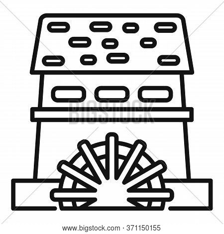 Water Mill House Icon. Outline Water Mill House Vector Icon For Web Design Isolated On White Backgro