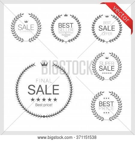 Laurel Wreath Label Badge Set Isolated. Best Sale, Premium Sale, Best Price Labels. Vector Illustrat