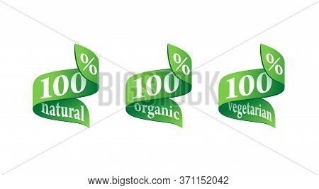 100 Percants Natural, 100 Organic, 100 Vegan - Mark For Healthy Food, Vegetarian Nutrition - Vector