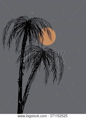 Palm Trees Silhouette. Tropical Night With Hand Drawn Palms And Orange Full Moon And Starry Sky. Bla