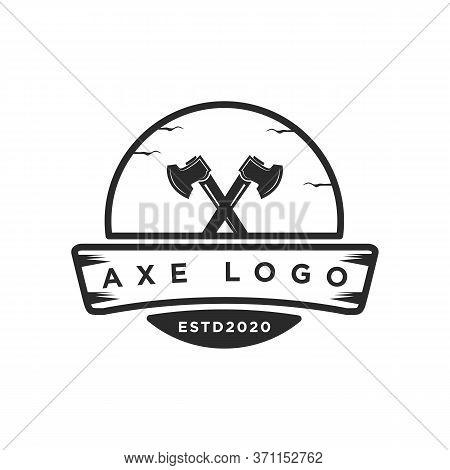 Lumberjack Axe  Vintage Badge Logo  Design Vector