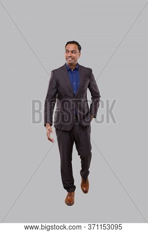 Businessman Walking Isolated. Indian Business Man Full Lenght
