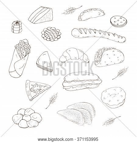Vector Illustration. Set Of Baking Objects In The Form Of Hand-drawn Pictures, Baguette, Sandwich, H
