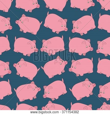 The Pink Pig. Chubby Kid From The Farm. Seamless Vector Pattern. A Pet. Ornament On An Isolated Cyan