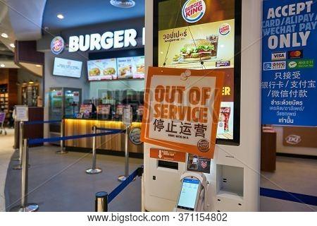 BANGKOK, THAILAND - CIRCA JANUARY, 2020: self-ordering kiosk seen at Burger King at Suvarnabhumi Airport.