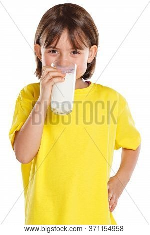 Child Girl Drinking Milk Kid Glass Healthy Eating Portrait Format Isolated On White