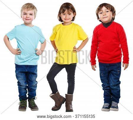 Kids Children Little Boys Girl Full Body Portrait Isolated On White