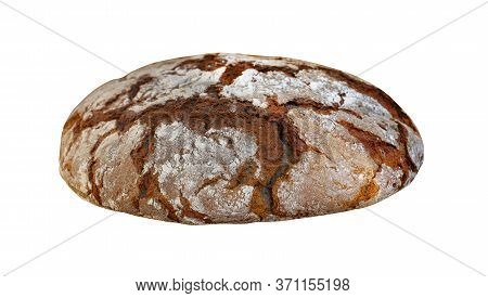 Close Up One Whole Round Loaf Of Fresh Artisan Brown Rye Bread Isolated On White Backgound, High Ang
