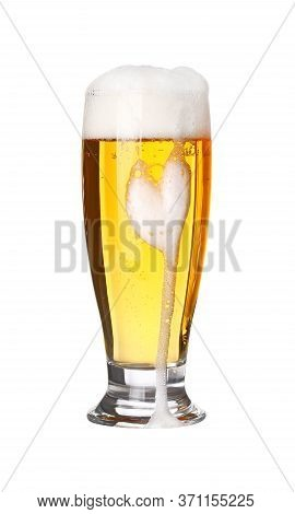 Close Up One Full High Glass Of Lager Beer With Froth And Bubbles Isolated On White Background, Low