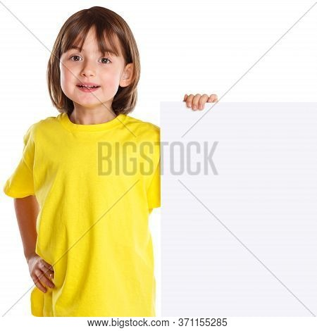 Child Kid Smiling Young Little Girl Copyspace Marketing Ad Empty Blank Sign Isolated