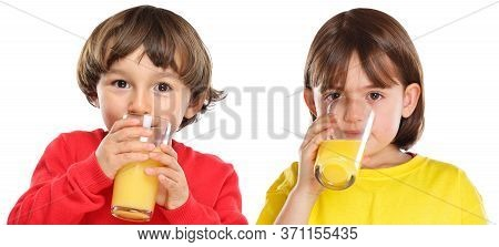 Children Kids Girl Boy Drinking Orange Juice Healthy Eating Isolated On White
