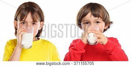 Children Kids Girl Boy Drinking Milk Healthy Eating Isolated On White