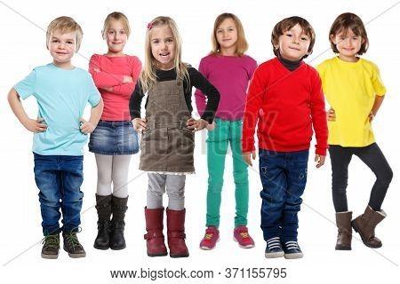 Group Of Kids Children Little Boys Girls Isolated On White