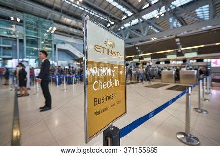 BANGKOK, THAILAND - CIRCA JANUARY, 2020: close up shot of Etihad Airways Priority Check-in sigh seen at Suvarnabhumi Airport.