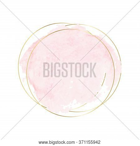 Pastel Pink Brush Stroke Watercolor Texture With Gold Polygonal Frames. Pink Water Color Brush With