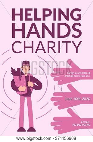 Helping Hands Charity Poster Flat Vector Template. Volunteering Services. Brochure, Booklet One Page