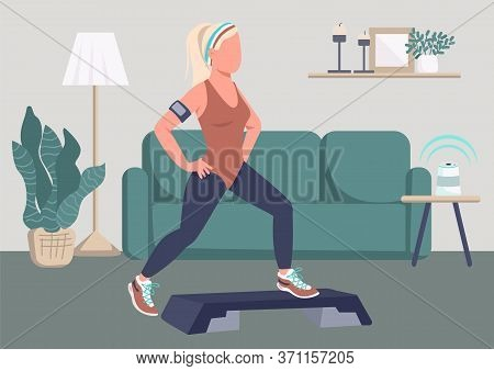 Step Ups Exercise Flat Color Vector Illustration. Sportswoman Working Out At Home 2d Cartoon Charact