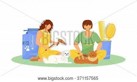 Pet Grooming Flat Concept Vector Illustration. Cat With Hairstyle. Pet Shop Products. Kitten Hygiene