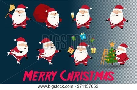 Santa Clause Going To Celebration Christmas. Characters Set. Holiday Vector Illustration. Collection