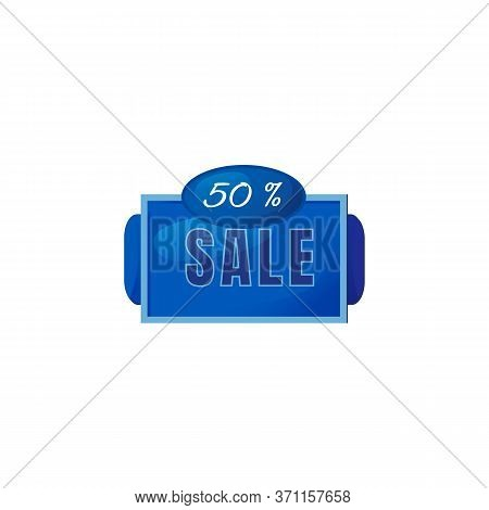 Half Price Sale Blue Vector Board Sign Illustration. 50 Percent Off Discount Signboard Design With T