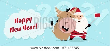 Happy Chinese New Year 2021 Version. Zodiac Of Ox Cartoon Character Traditional. New Year 2021 Cards