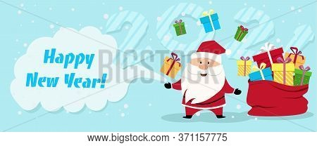 Santa With A Bag Of Gifts. Happy Chinese New Year 2021 Version. Zodiac Of Ox Cartoon Character Tradi